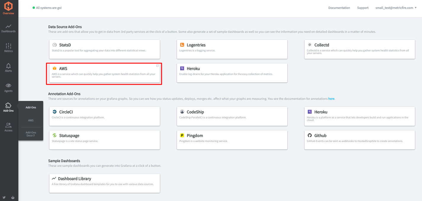 AWS integration in Hosted Graphite